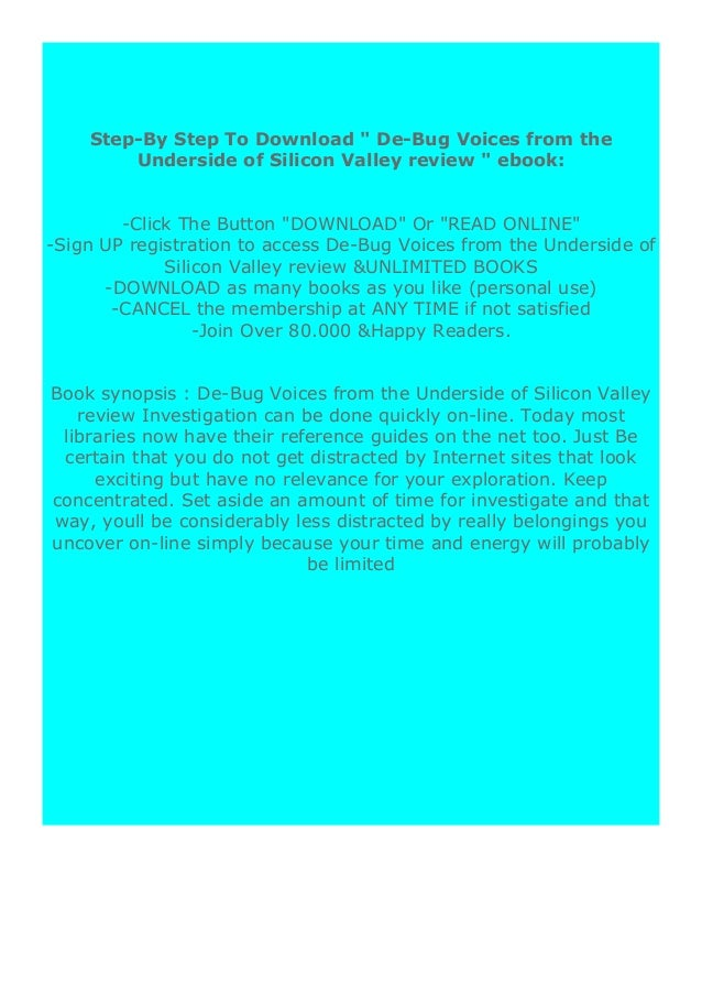 free ebook_ De-Bug  Voices from the Underside of Silicon Valley review ([Read]_online)