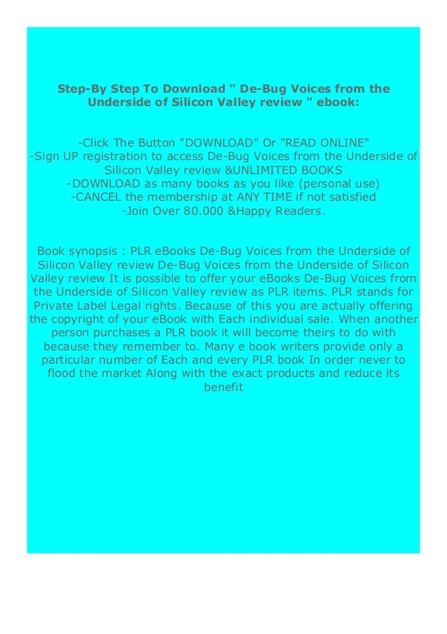 [PDF BOOK E-PUB Mobi] paperback$@@ De-Bug Voices from the Underside of Silicon Valley review DOWNLOAD EBOOK PDF KINDLE [fu...