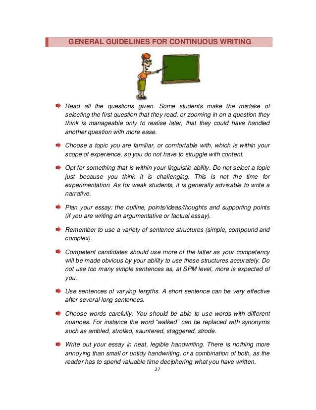 guidelines on writing english essays spm 38