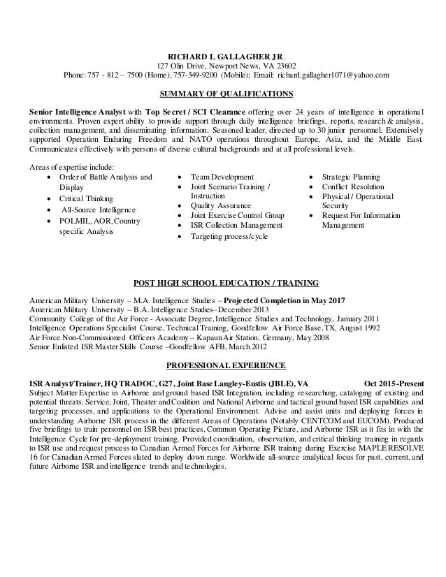 Gallagher Resume August 2016