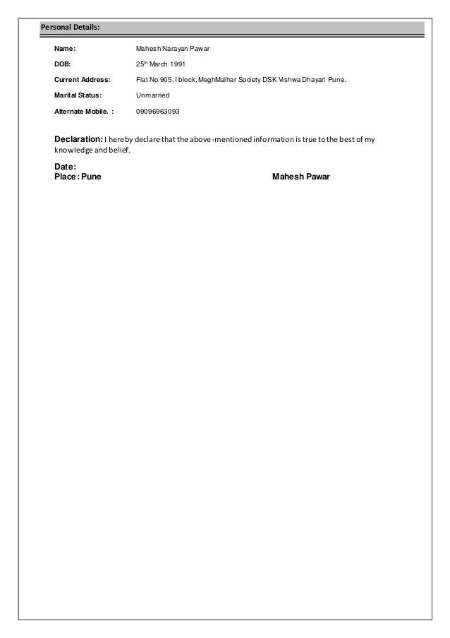Mahesh Pawar Resume