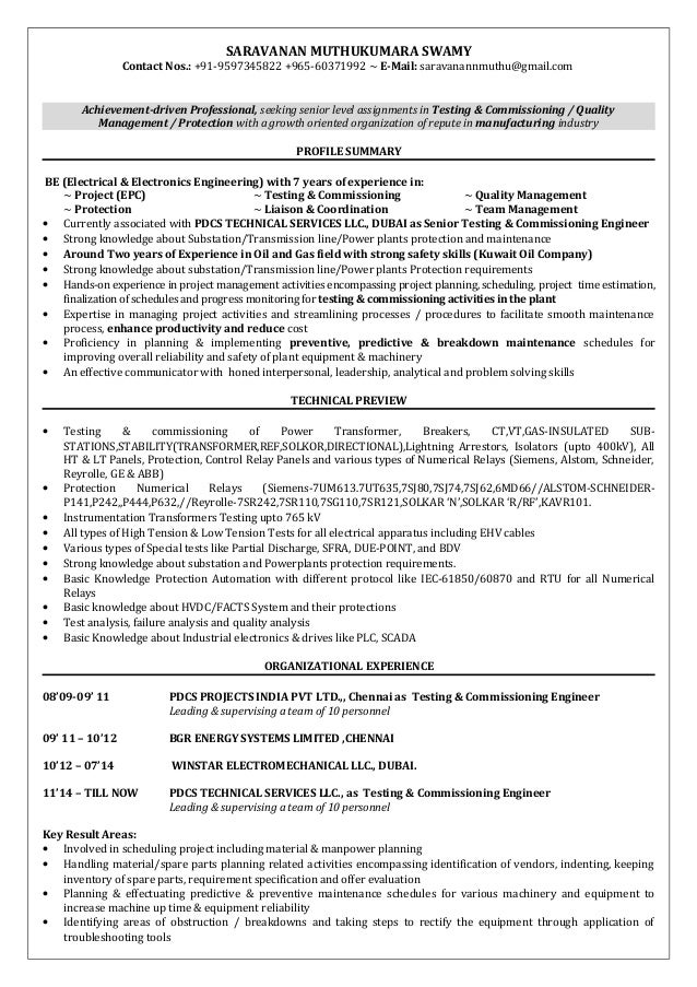 TESTING AND COMMISSIONING ENGINEER. SARAVANAN MUTHUKUMARA SWAMY Contact  Nos.: +91 9597345822 +965 60371992 ...