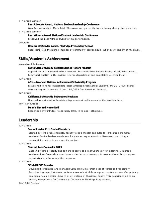 chemistry student resume