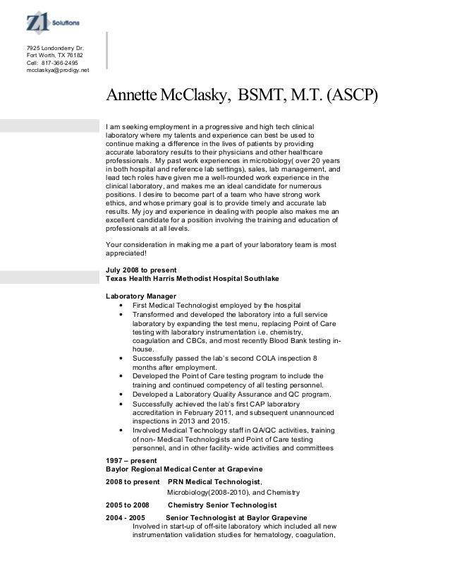 Resume ascp medical technician baltimore