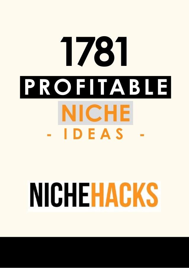 profitable niche - i d e a s - 1781