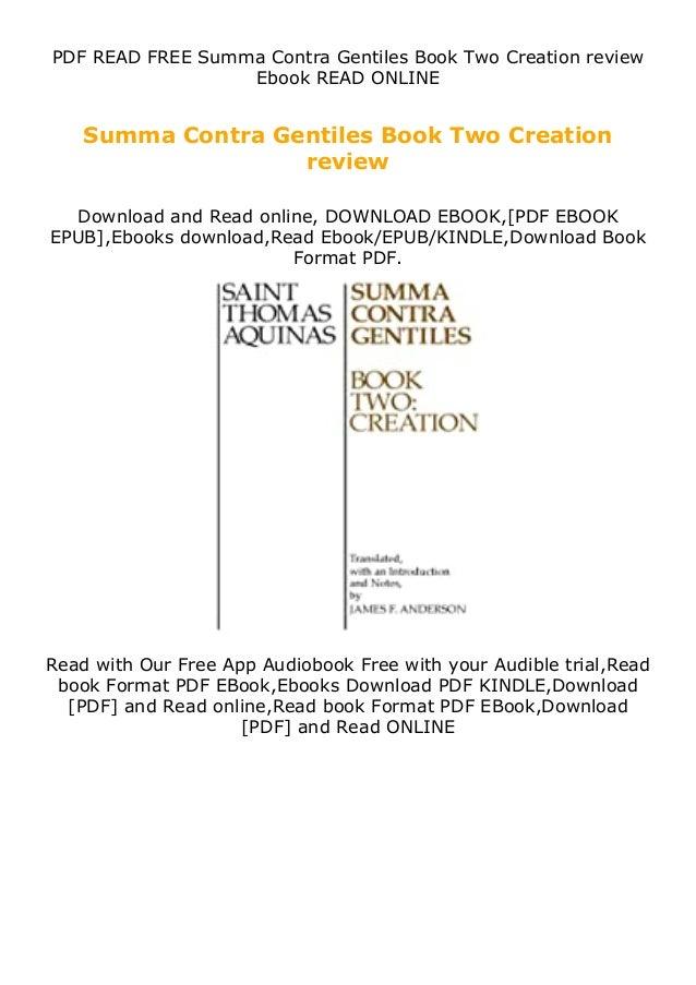 PDF READ FREE Summa Contra Gentiles Book Two Creation review Ebook READ ONLINE Summa Contra Gentiles Book Two Creation rev...
