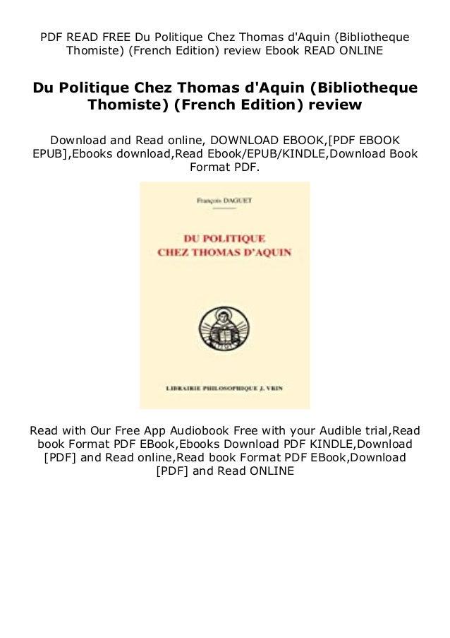 PDF READ FREE Du Politique Chez Thomas d'Aquin (Bibliotheque Thomiste) (French Edition) review Ebook READ ONLINE Du Politi...