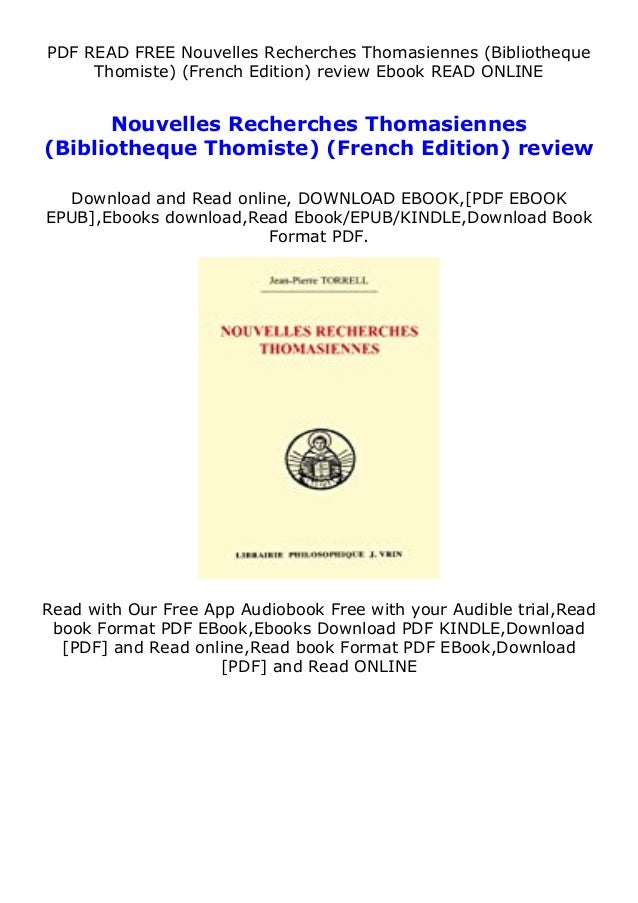 PDF READ FREE Nouvelles Recherches Thomasiennes (Bibliotheque Thomiste) (French Edition) review Ebook READ ONLINE Nouvelle...