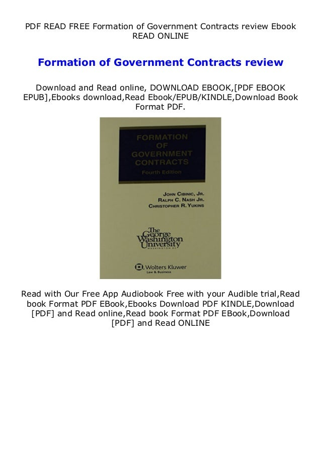 PDF READ FREE Formation of Government Contracts review Ebook READ ONLINE Formation of Government Contracts review Download...