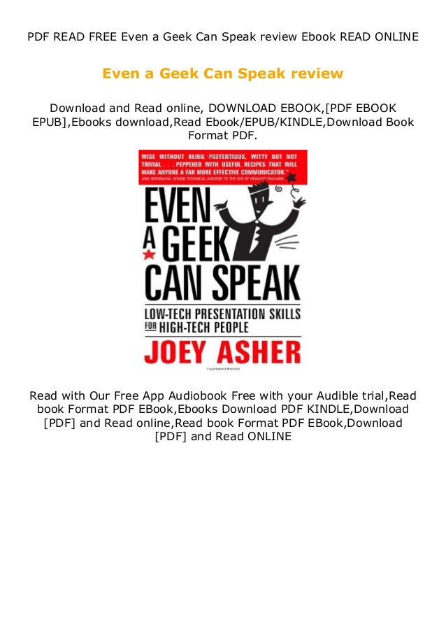 PDF READ FREE Even a Geek Can Speak review Ebook READ ONLINE Even a Geek Can Speak review Download and Read online, DOWNLO...