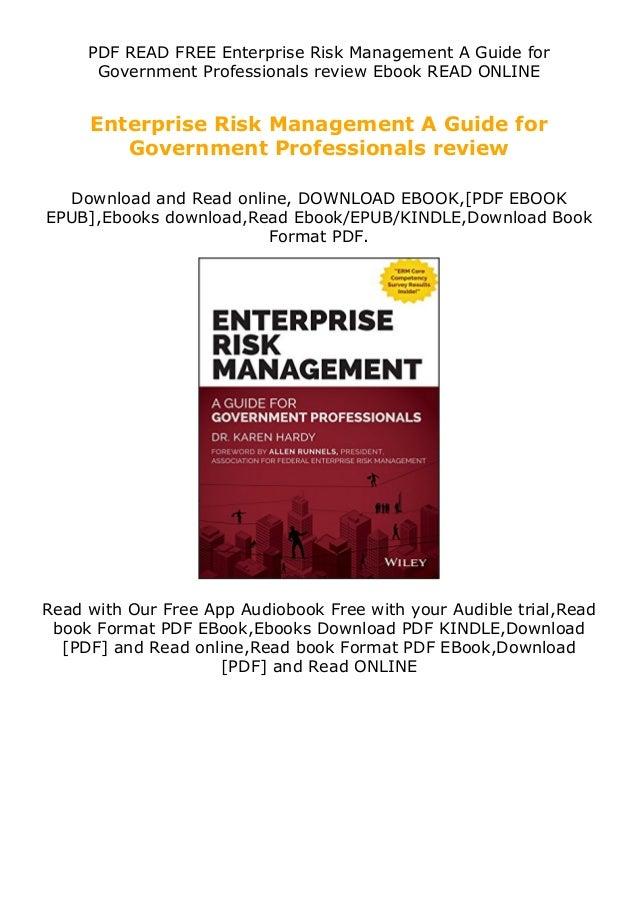 PDF READ FREE Enterprise Risk Management A Guide for Government Professionals review Ebook READ ONLINE Enterprise Risk Man...