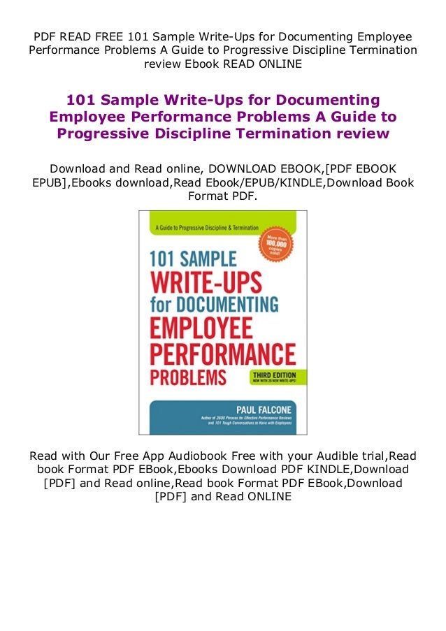 PDF READ FREE 101 Sample Write-Ups for Documenting Employee Performance Problems A Guide to Progressive Discipline Termina...