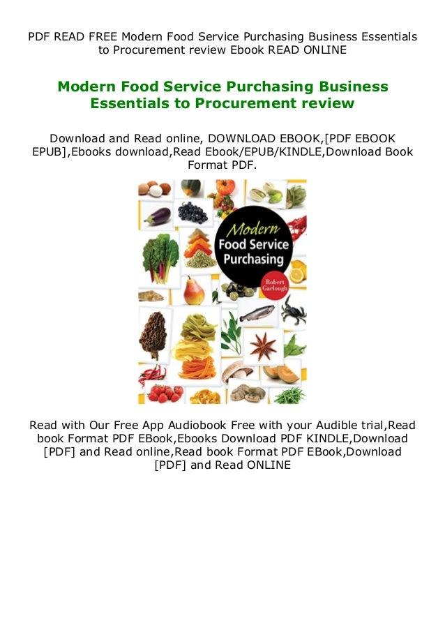 PDF READ FREE Modern Food Service Purchasing Business Essentials to Procurement review Ebook READ ONLINE Modern Food Servi...