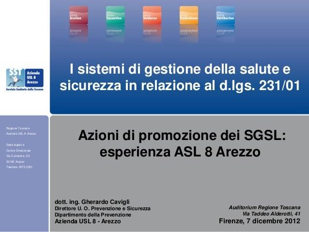 Regione ToscanaAzienda USL 8 ArezzoSede legale eCentro DirezionaleVia Curtatone, 5452100 ArezzoTelefono 0575 2551Auditoriu...