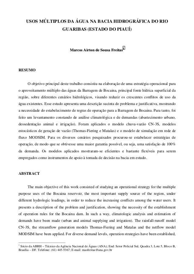 USOS MÚLTIPLOS DA ÁGUA NA BACIA HIDROGRÁFICA DO RIO GUARIBAS (ESTADO DO PIAUÍ) MMaarrccooss AAiirrttoonn ddee SSoouussaa F...