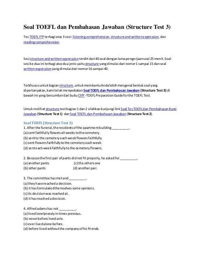 Contoh Soal Toefl Dan Pembahasan Pdf