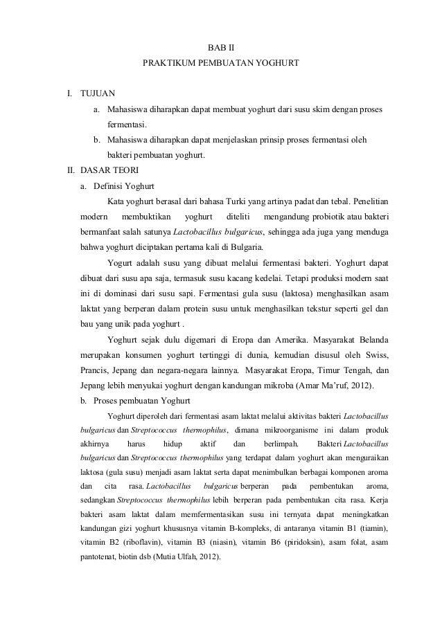179297851 Laporan Praktikum Pembuatan Yoghurt Doc