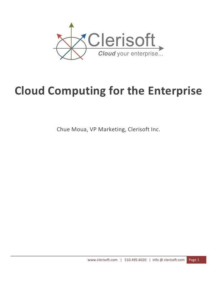 Clerisoft                             Cloud your enterprise...                              ...