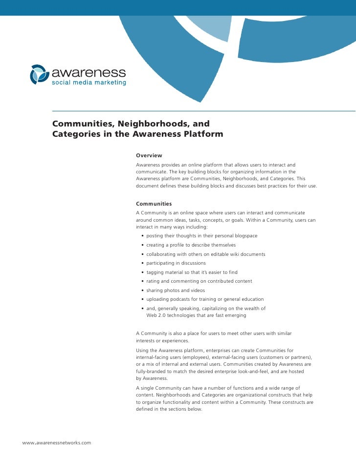 Communities, Neighborhoods, and           Categories in the Awareness Platform                              Overview      ...
