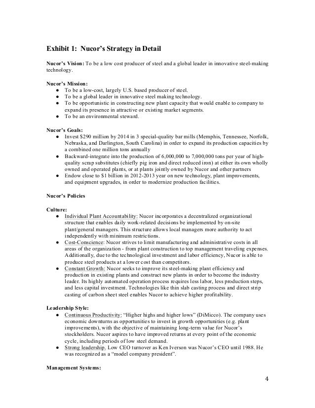 nucor strategy Head: strategic issues paper strategic issues paper university of phoenix november 3, 2008 strategic issues paper in today's business environment, an effective strategy is critical for an organization to attain its vision.