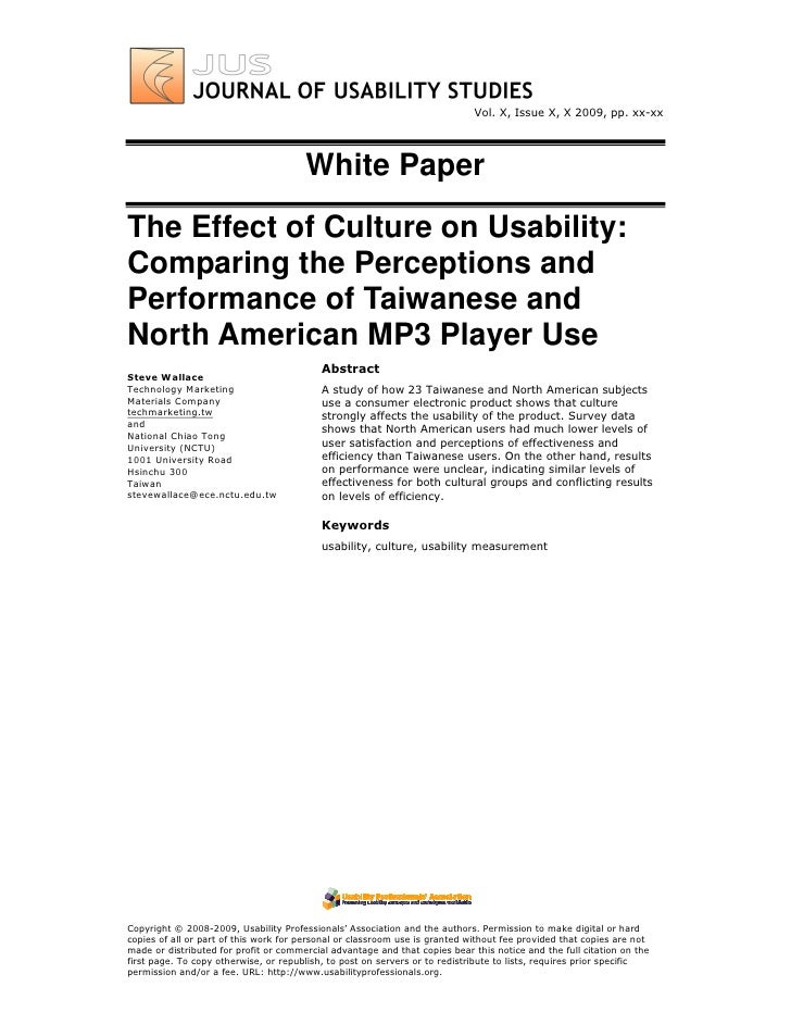 Vol. X, Issue X, X 2009, pp. xx-xx                                            White Paper  The Effect of Culture on Usabil...