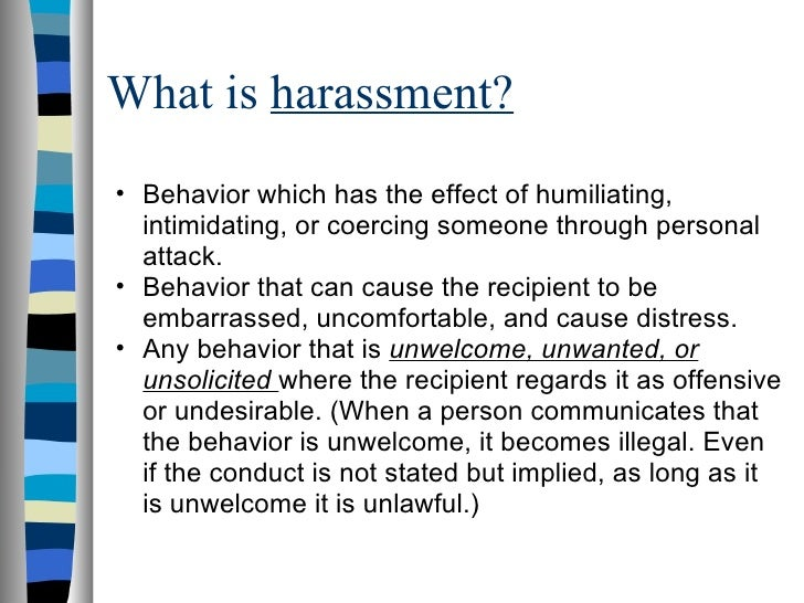 discriminatory or harassing behavior essay Sexual harassment essay workers who experience more than one type of harassment and discrimination also may have trouble journal of vocational behavior 32.