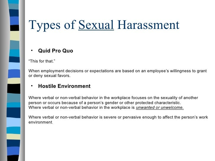 Two types of sexual harassment quid pro quo means