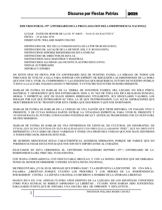 Discurso por Fiestas Patrias 2018 PROFESOR WILLAMS MARIN CHAVEZ 1 DISCURSO POR EL 197º ANIVERSARIO DE LA PROCLAMACION DELA...