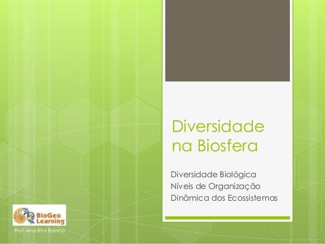 Diversidade na Biosfera Diversidade Biológica Níveis de Organização Dinâmica dos Ecossistemas Prof. Ana Rita Rainho
