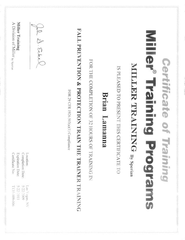 Certificate - Fall Protection