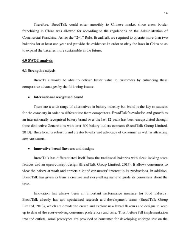 BreadTalk SWOT Analysis, Competitors & USP