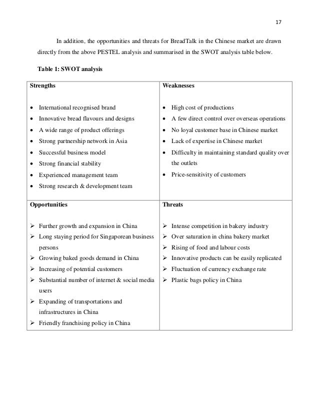 breadtalk swot analysis essay