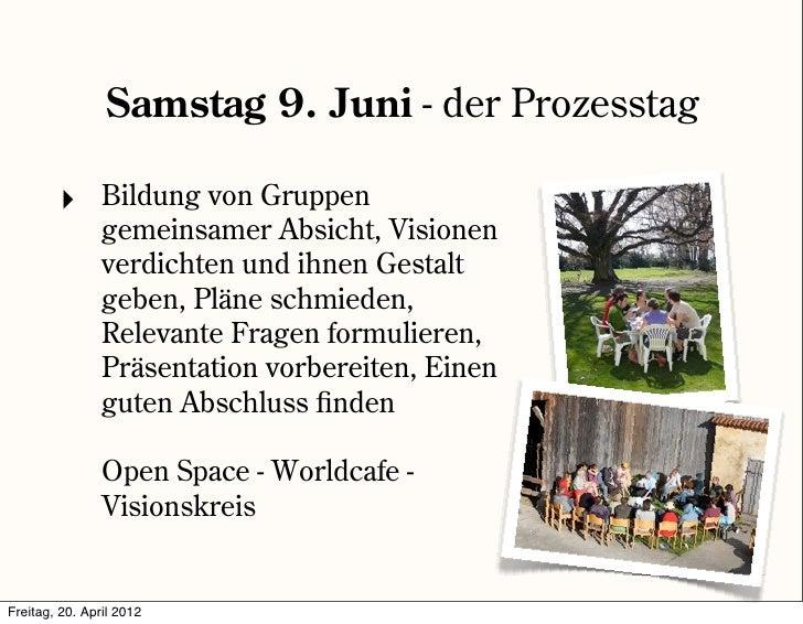 Samstag 9. Juni - der Prozesstag         ‣      Bildung von Gruppen                gemeinsamer Absicht, Visionen          ...
