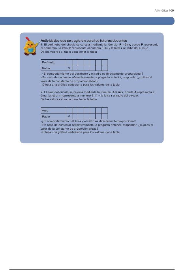 Aritmética 109Actividades que se sugieren para los futuros docentes1. El perímetro del círculo se calcula mediante la fórm...