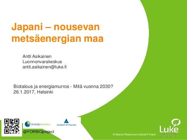 © Natural Resources Institute Finland Japani – nousevan metsäenergian maa Antti Asikainen Luonnonvarakeskus antti.asikaine...