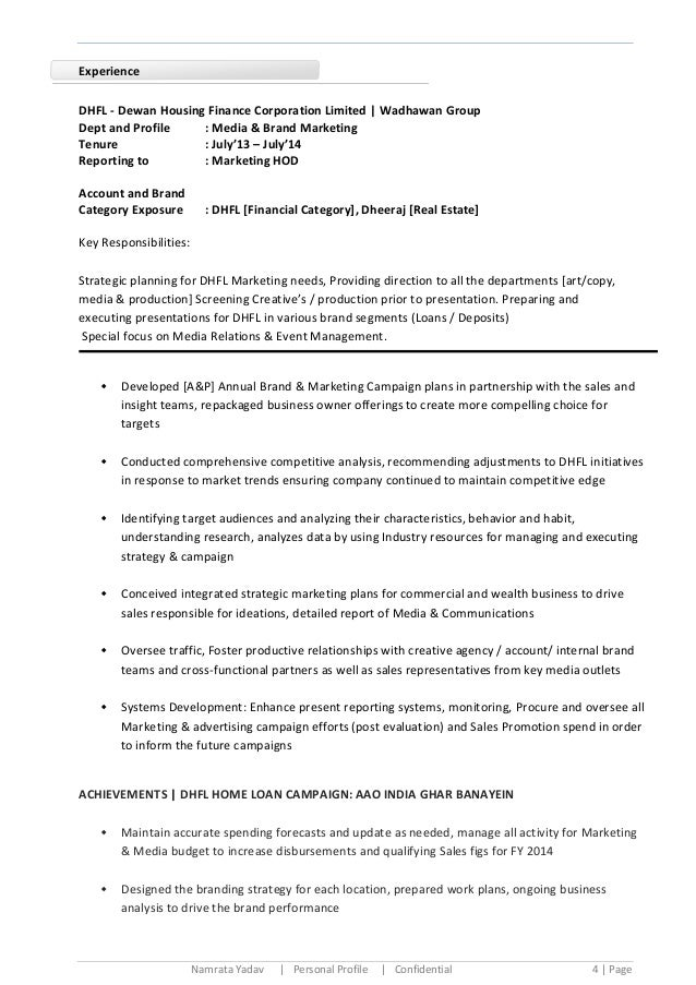 namrata media marketing  u0026 brand communications cv