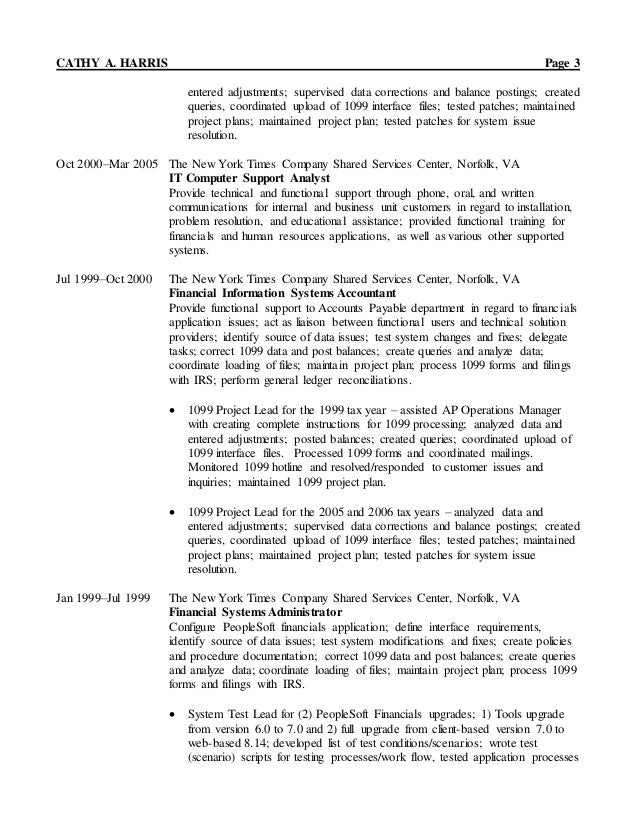 resume of cathy a harris