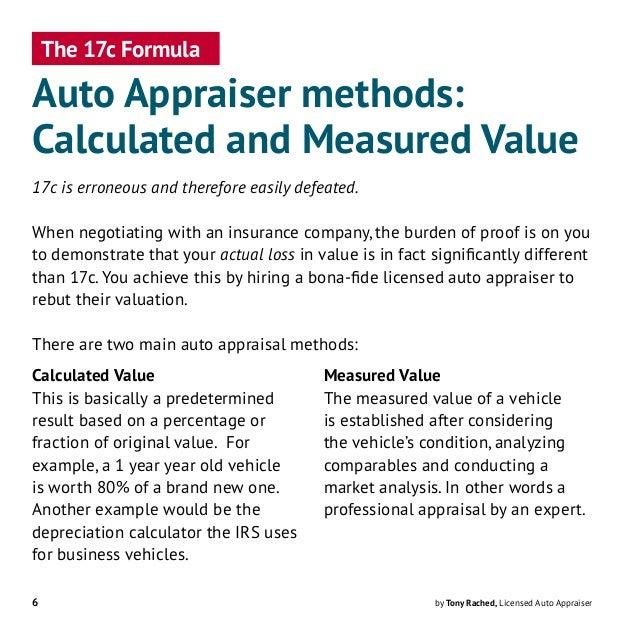 17c Formula Bad for Diminished Value Calculations
