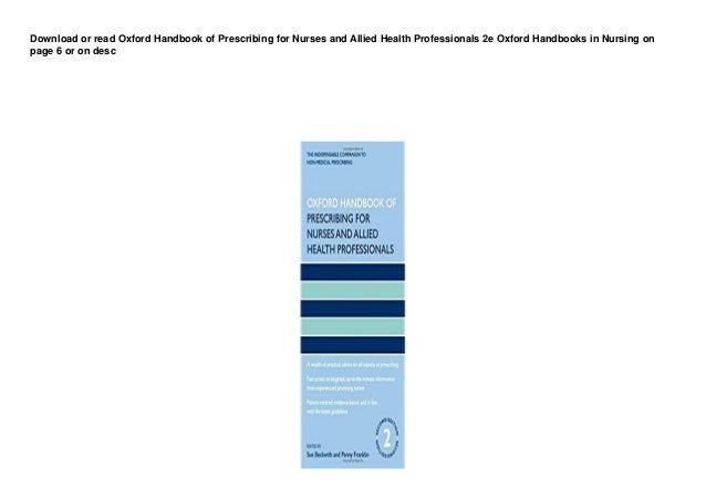 dl oxford handbook of prescribing for nurses and allied health professionals 2e oxford handbooks in nursing buuk 1 638