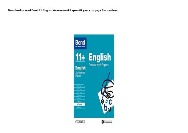 dl bond 11 english assessment papers 67 years d00nl0d 1 638