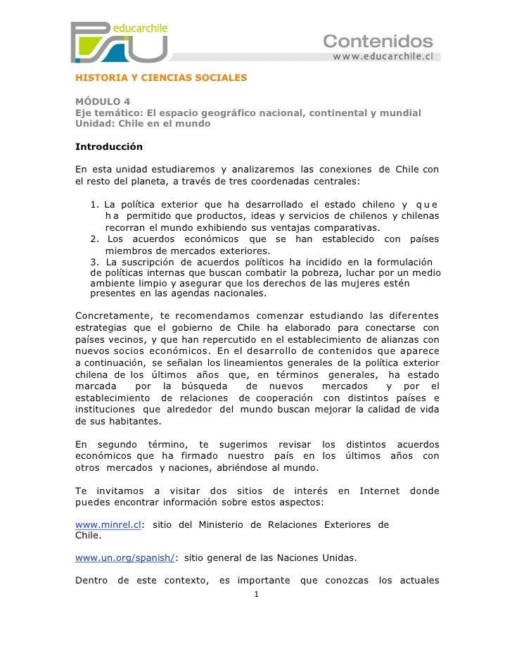 HISTORIA Y CIENCIAS SOCIALESMÓDULO 4Eje temático: El espacio geográfico nacional, continental y mundialUnidad: Chile en el...