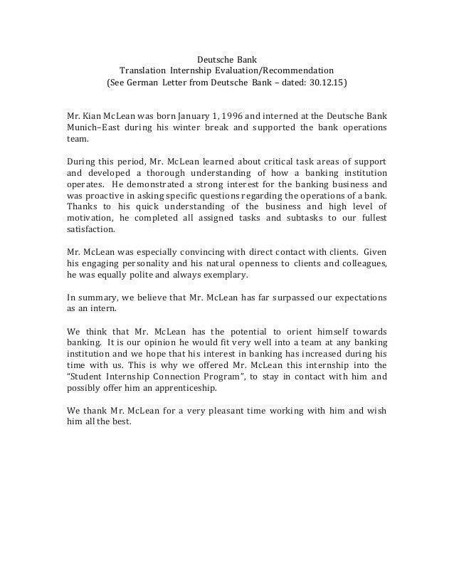 Deutsche Bank Translation Letter