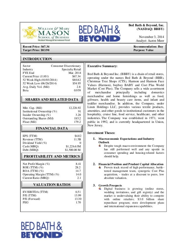 Bed Bath Beyond Inc Bbby Investment Report
