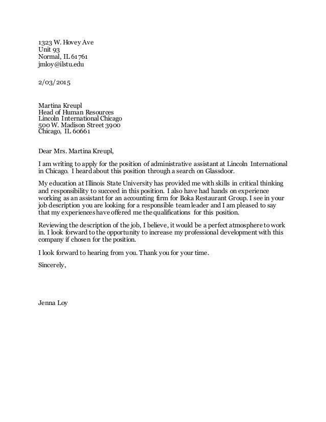 cover letter ilstu