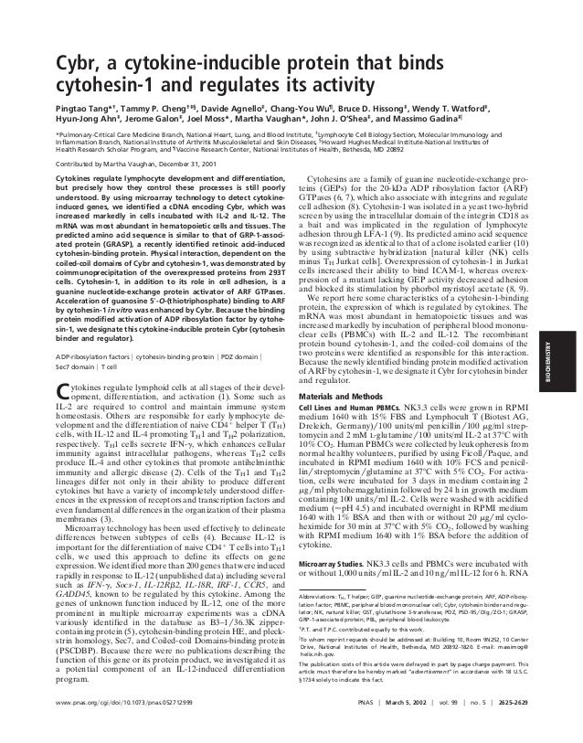 Cybr, a cytokine-inducible protein that binds cytohesin-1 and regulates its activity Pingtao Tang*† , Tammy P. Cheng†‡§ , ...