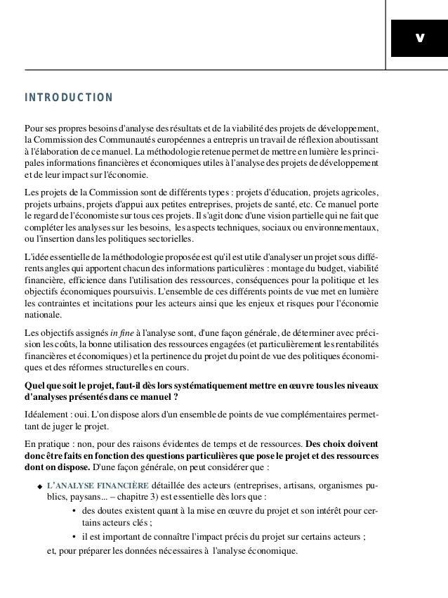 VVVVV INTRODUCTION Pour ses propres besoins d'analyse des résultats et de la viabilité des projets de développement, la Co...