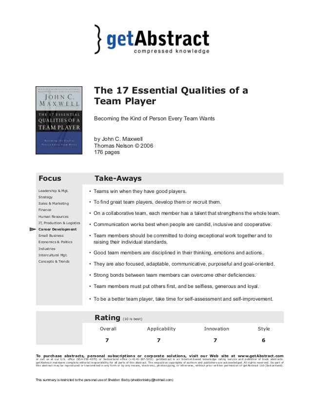 the 17 essential qualities of a team player essay The 17 essential qualities of a team player [download] (9780785260318) by john c maxwell.