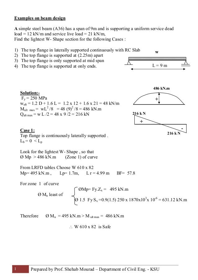 17-Examples of Beams (Steel Structural Design & Prof  Shehab