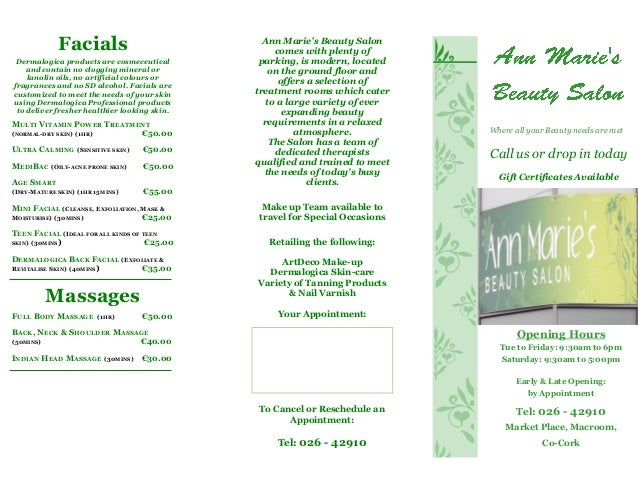 Annmaries Beauty Salon Brochure