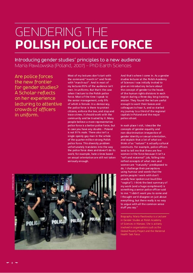 8 Are police forces the new frontier for gender studies? A Scholar reflects on her experience lecturing to attentive crowd...
